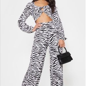 Zebra Print Tie Detail Cut Out Jumpsuit